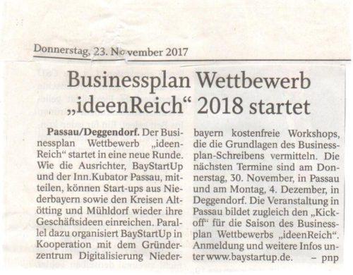 """Businessplan Wettbewerb """"ideenReich"""" 2018 startet"""