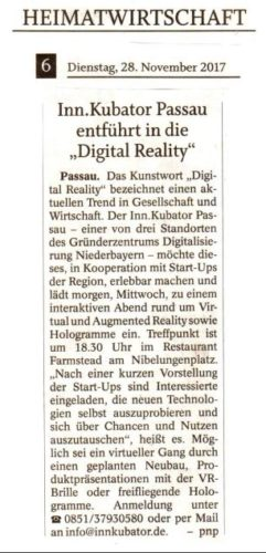 "INN.KUBATOR Passau entführt in die ""Digital Reality"""