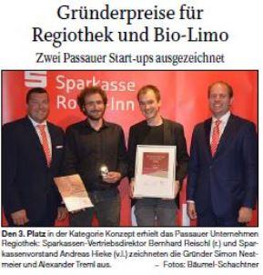 Gründerpreise für Regiothek und Bio-Limo