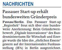 Passauer Start-up erhält bundesweiten Gründerpreis
