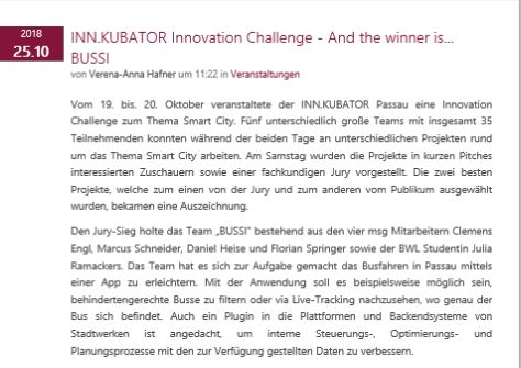 INN.KUBATOR Innovation Challenge - And the winner is...BUSSI
